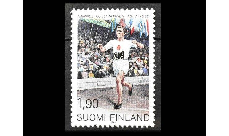 """Финляндия 1989 г. """"100 лет со дня рождения Ханнеса Колехмайнена"""""""