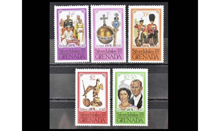 """Гренада 1977 г. """"Королевский визит"""" (надпечатка)"""