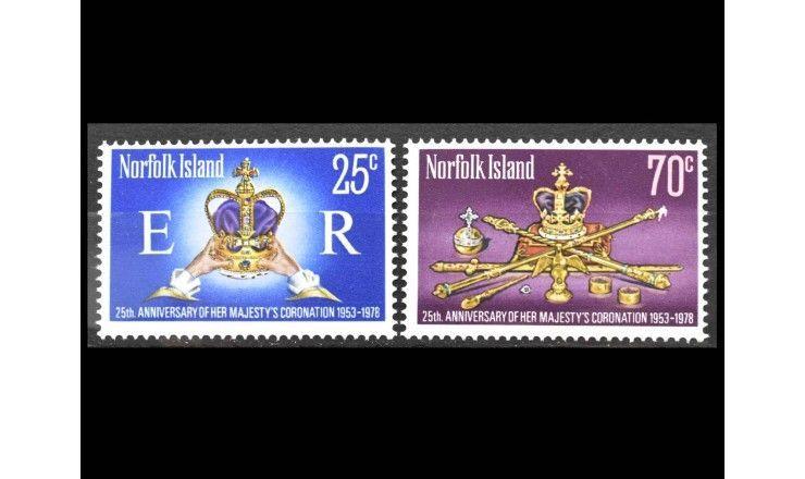"""Остров Норфолк 1978 г. """"25 лет коронации Королевы Елизаветы II"""""""