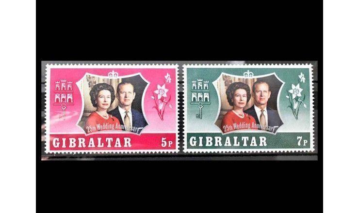 """Гибралтар 1972 г. """"Серебряная свадьба английской королевской пары"""""""