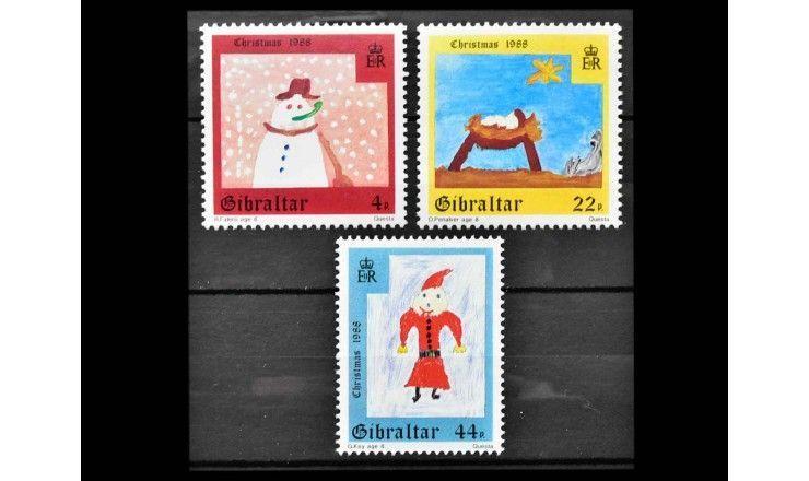 """Гибралтар 1988 г. """"Рождество: Детские рисунки"""""""
