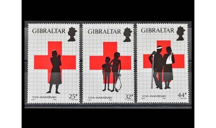 """Гибралтар 1989 г. """"125 лет Красному Кресту"""""""