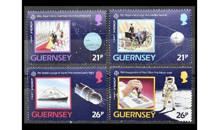 "Гернси 1991 г. ""Европа: Европейская космонавтика"""