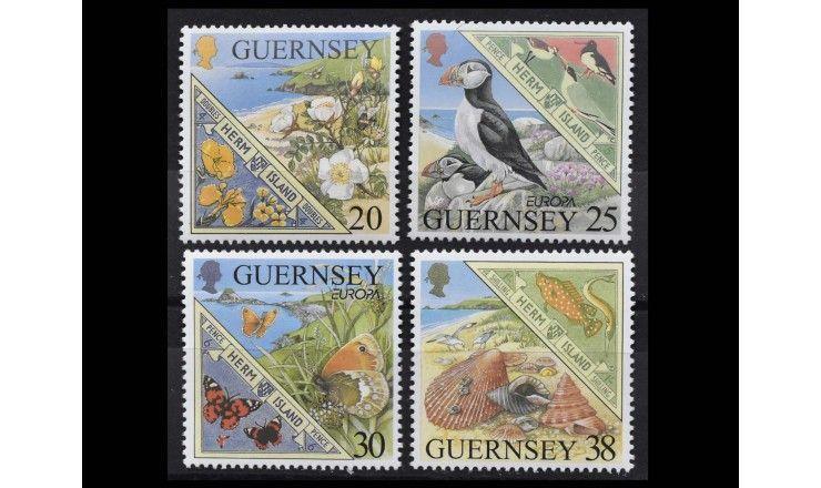 """Гернси 1999 г. """"Остров Херм; Европа: Природа и Национальные парки"""""""