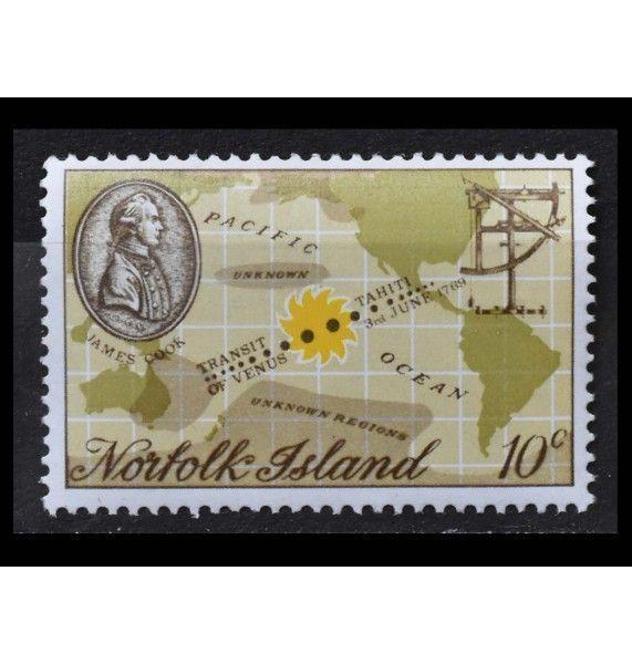 """Остров Норфолк 1969 г. """"200 лет со дня наблюдения прохождения Венеры Джеймсом Куком на Таити"""""""