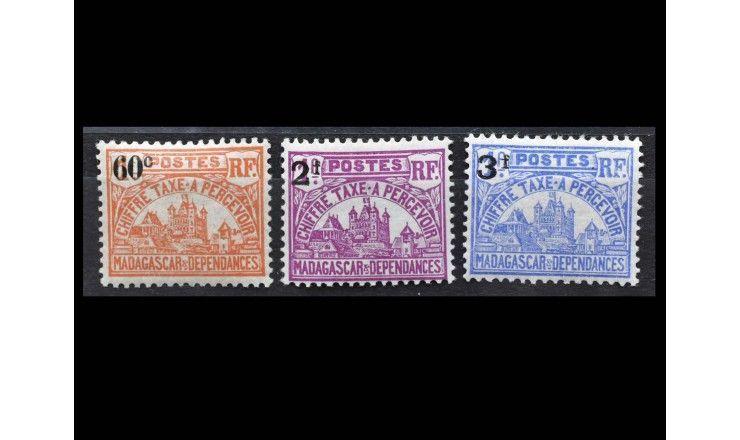 """Мадагаскар 1924/1927 гг. """"Доплатные марки. Правительственные здания в Тананариве"""" (надпечатка)"""