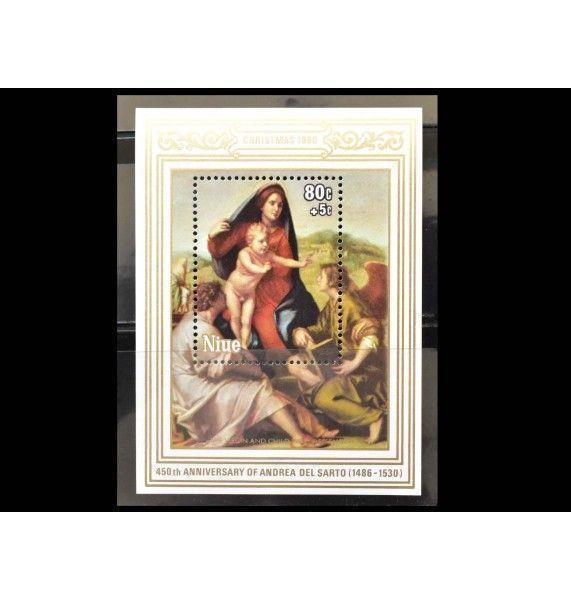 """Ниуэ 1980 г. """"Рождество: Картины с Мадонной Андреа дель Сарто"""""""