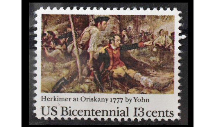 """США 1977 г. """"200 лет независимости США (1976): 200 лет Битве при Орисканах"""""""