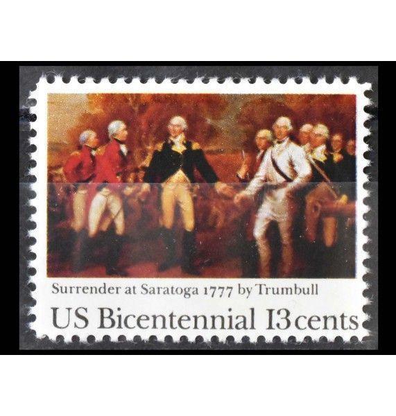 """США 1977 г. """"200 лет независимости США (1976): 200 лет Битве при Саратоге"""""""
