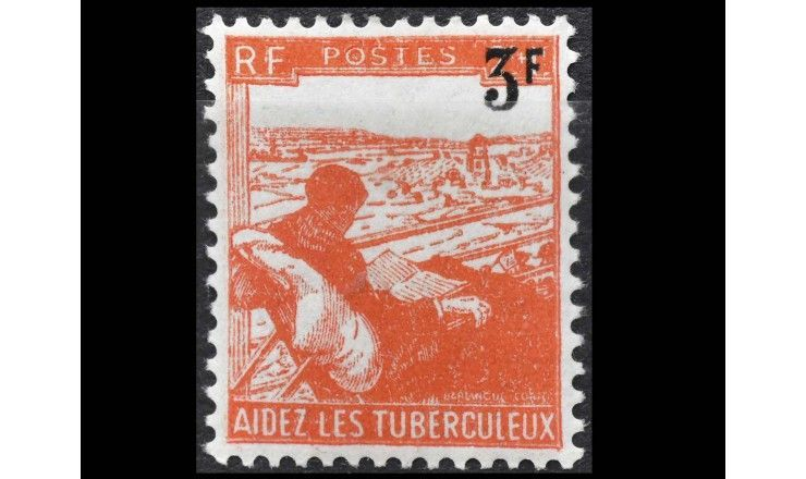 "Франция 1946 г. ""Борьба с туберкулезом"" (надпечатка)"