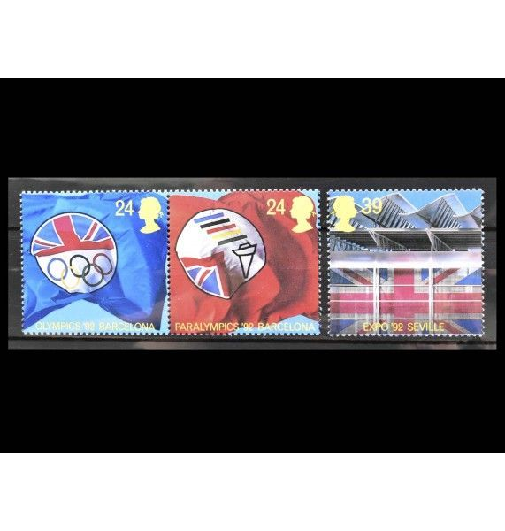 """Великобритания 1992 г. """"Летние Олимпийские игры, Барселона; Параолимпийские игры, Барселона; EXPO'92, Севилья"""""""