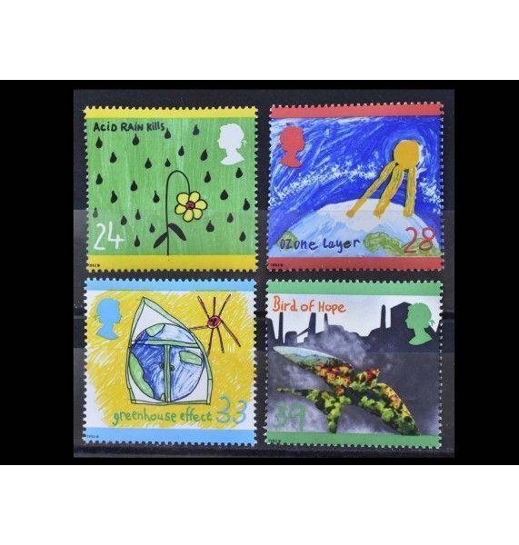 """Великобритания 1992 г. """"Защита окружающей среды. Детские рисунки"""""""