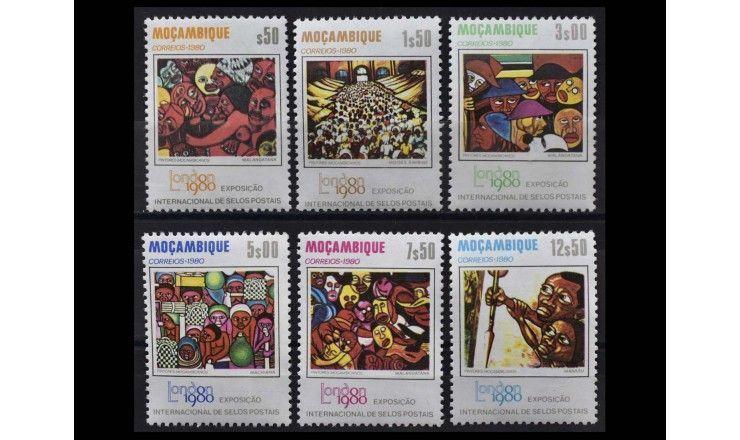 """Мозамбик 1980 г. """"Международная выставка марок LONDON 1980 - Картины местных художников"""""""