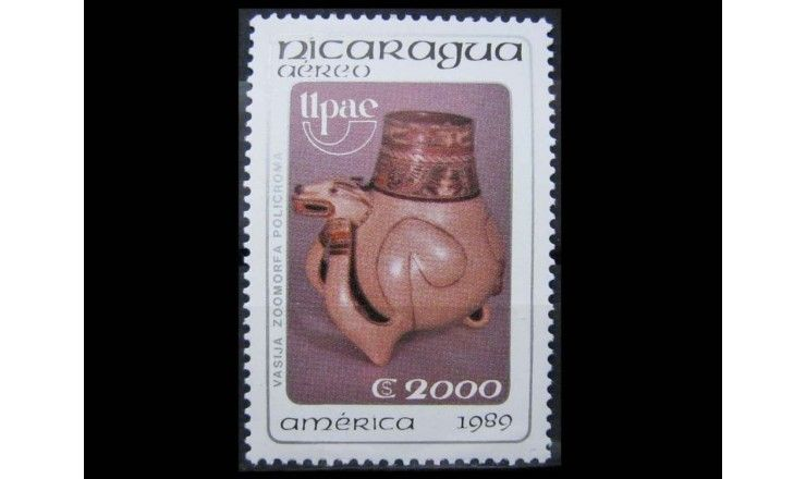 """Никарагуа 1989 г. """"Америка: Искусство и обычаи индейцев"""""""