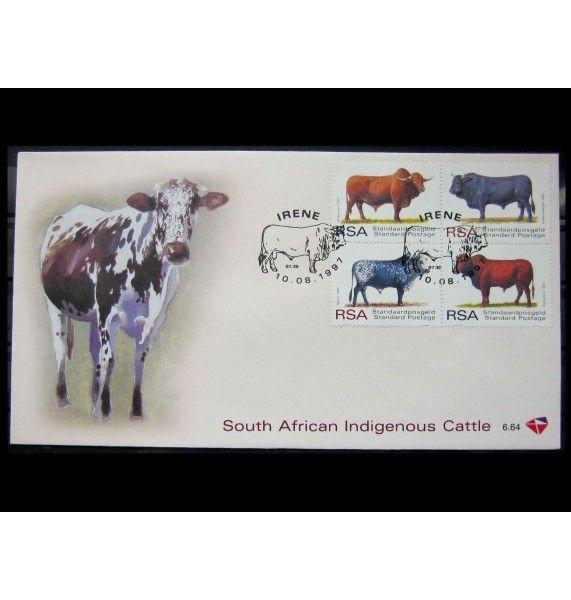 """ЮАР 1997 г. """"Породы африканского крупного рогатого скота"""" FDC"""