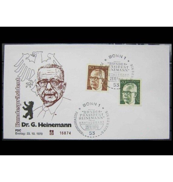 "ФРГ 1970 г. ""Стандартные марки: Густав Хайнеман"" FDC"