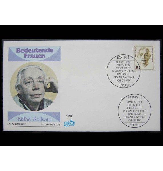 """ФРГ 1991 г. """"Стандартные марки: Женщины немецкой истории"""" FDC"""