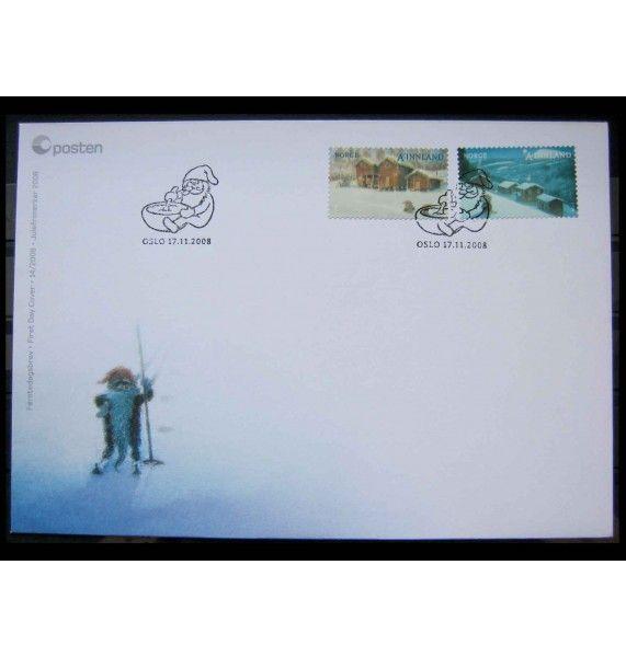 """Норвегия 2008 г. """"Рождество"""" FDC"""