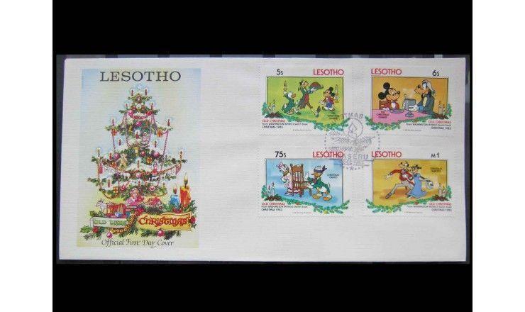 """Лесото 1983 г. """"Рождество: Персонажи Уолт Диснея"""" FDC"""