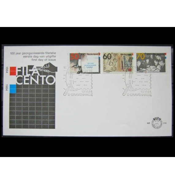 """Нидерланды 1984 г. """"Выставка марок FILACENTO, Гаага; 100 лет почтовой марке в Нидерландах"""" FDC"""