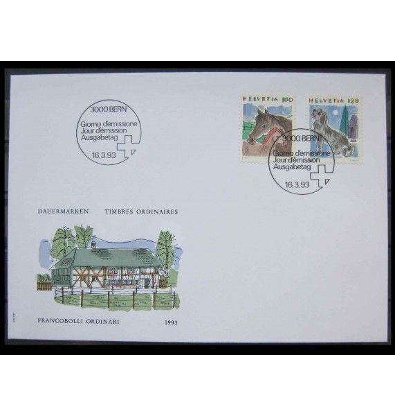 """Швейцария 1993 г. """"Стандартные марки: Животные"""" FDC"""