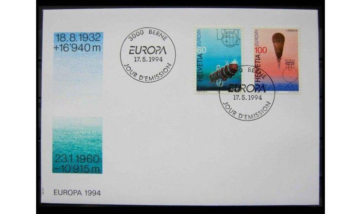 """Швейцария 1994 г. """"Европа: Открытия и изобретения"""" FDC"""