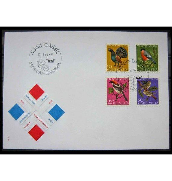 """Швейцария 1968 г. """"Благотворительная организация Pro Juventute: Местные птицы"""" FDC"""