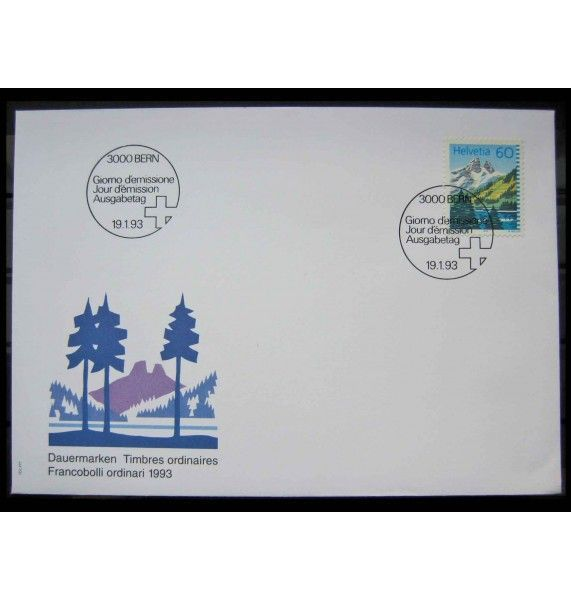 "Швейцария 1993 г. ""Стандартная марка: Горное озеро"" FDC"