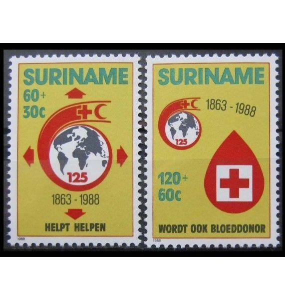 "Суринам 1988 г. ""125 лет Международному Красному Кресту"""