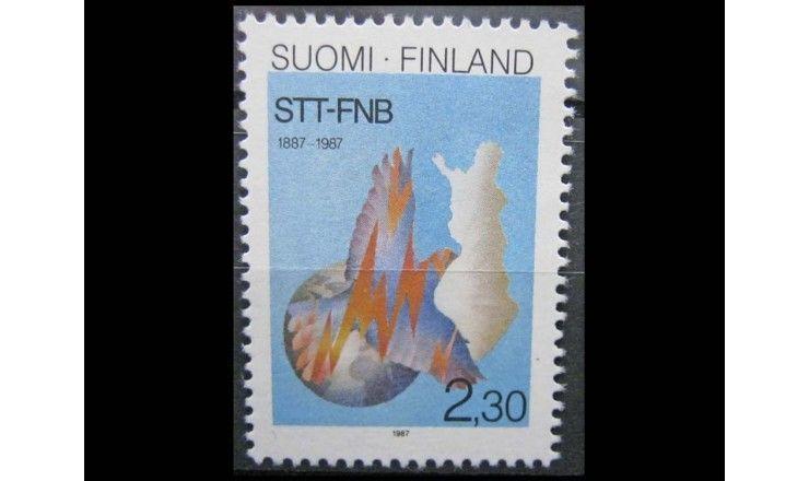 """Финляндия 1987 г. """"100 лет информационному агентству STT-FNB"""""""