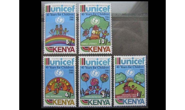 """Кения 1987 г. """"40 лет Международному детскому фонду ЮНИСЕФ"""""""