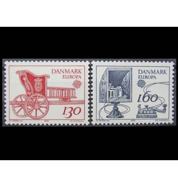 """Дания 1979 г. """"История почты и телекоммуникаций"""""""