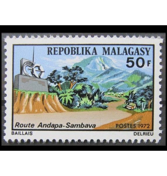 """Мадагаскар 1972 г. """"Открытие трассы Андапа-Самбава"""""""