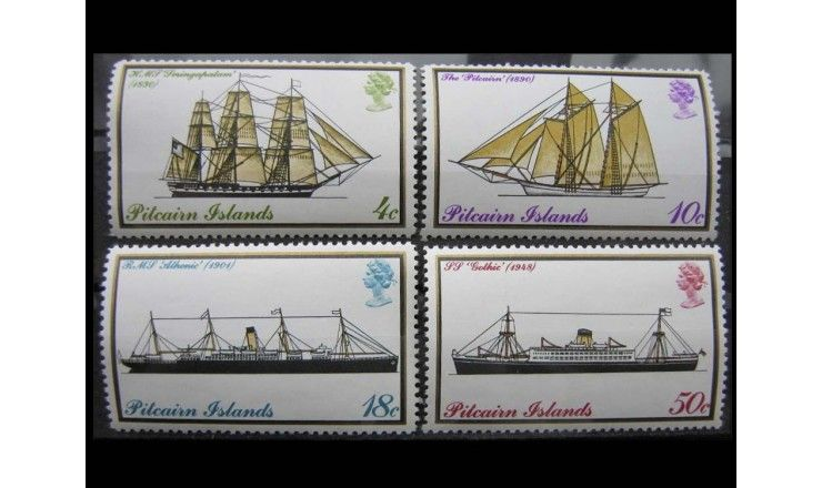 """Острова Питкэрн 1975 г. """"Почтовые корабли"""""""